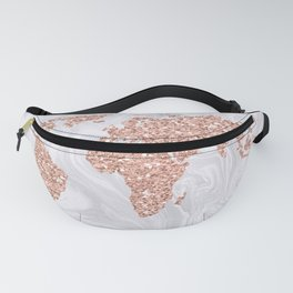 Rose Gold Glitter World Map on White Marble Fanny Pack