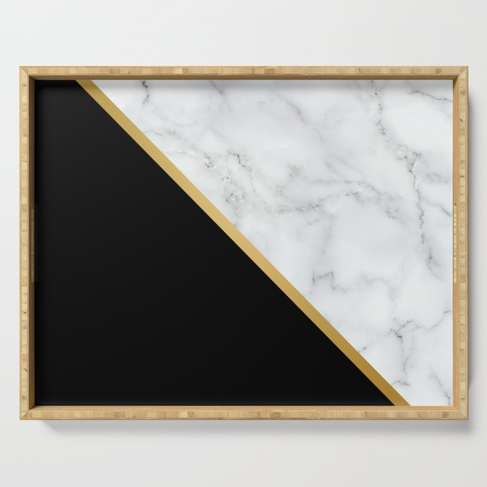 Marble, Black, White, Gold, Abstract Color Block Serving Tray