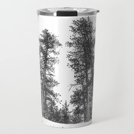 Snowscape Sky // Winter Trees Black and White Landscape Snow Ski Snowboard Photography Travel Mug
