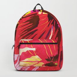 Red Hibiscus Flower Watercolor Portrait Backpack