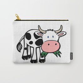 Black and White Steer Munching Grass Carry-All Pouch