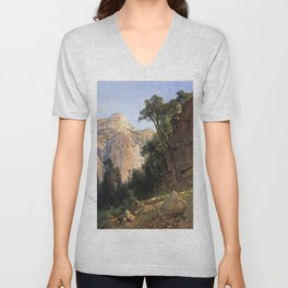 North Dome Yosemite Valley 1870 By Thomas Hill | Reproduction copy Unisex V-Neck