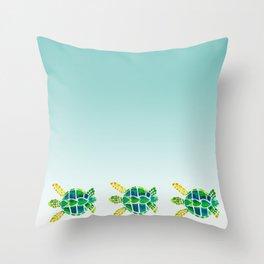 Swimming Baby Sea Turtles Throw Pillow