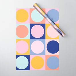 Colorful Circles in Squares Wrapping Paper