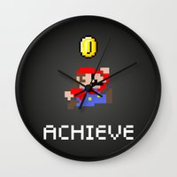 mario bros Wall Clocks featuring Mario by eARTh