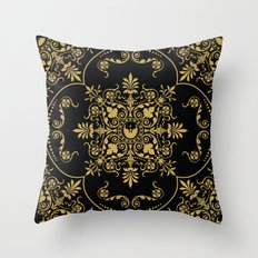 Decorative Pattern in Black and Gold Throw Pillow