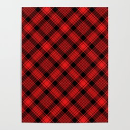 Black and Red Plaid Pattern Poster