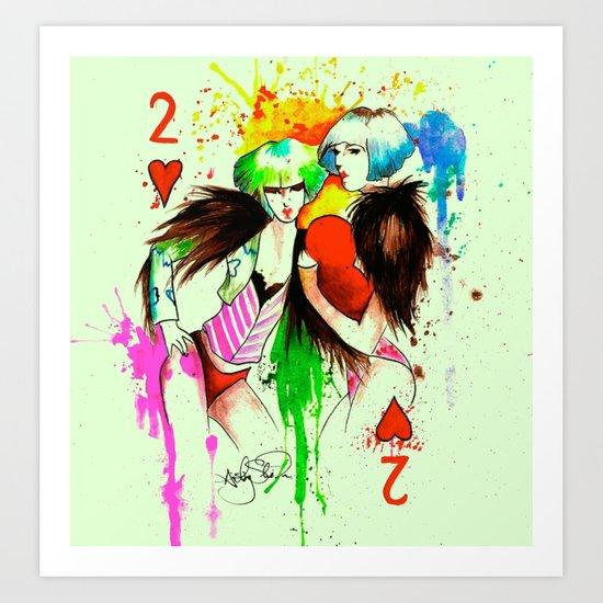Two Of Hearts. Art Print