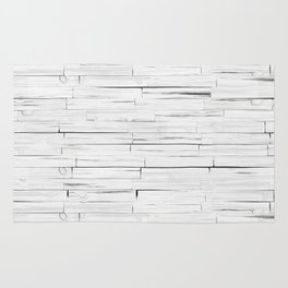 White Wooden Planks Wall Rug
