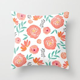 Pink Coral Turquoise Watercolor Floral Pattern Throw Pillow