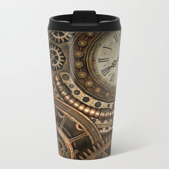 Steampunk Clockwork Metal Travel Mug
