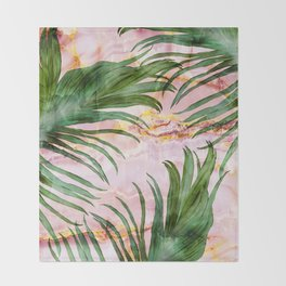 Palm leaf on marble 01 Throw Blanket