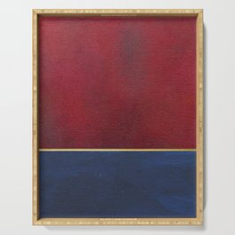 Deep Blue, Red And Gold Abstract Painting Serving Tray