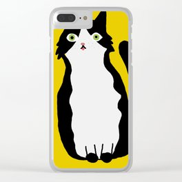 Tuxedo Cat with tongue out Clear iPhone Case
