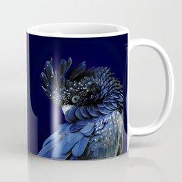 Australian Red-Tailed Black Cockatoo in Blue Coffee Mug