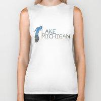 michigan Biker Tanks featuring Lake Michigan by Heather Searles