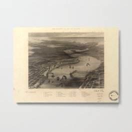 Vintage Pictorial Map of New Orleans (1863) Metal Print