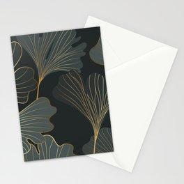 Golden ginkgo leaves pattern Stationery Cards