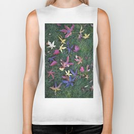 Scattered Fall Leaves Biker Tank
