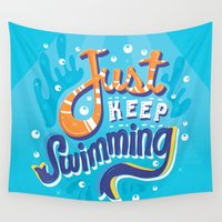 risa rodil Wall Tapestries featuring Just Keep Swimming by Risa Rodil