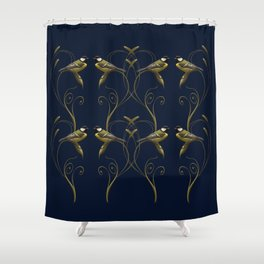 Great tit on swirled branch Shower Curtain