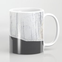 Scratched White Plaster and Charcoal Grey Lined Pattern Coffee Mug
