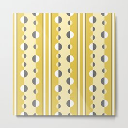 Circles and Stripes in Mustard Yellow and Gray Metal Print