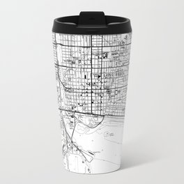 Vintage Map of Long Beach California (1964) BW Travel Mug