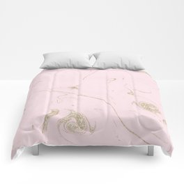 Luxe gold and blush marble image Comforters