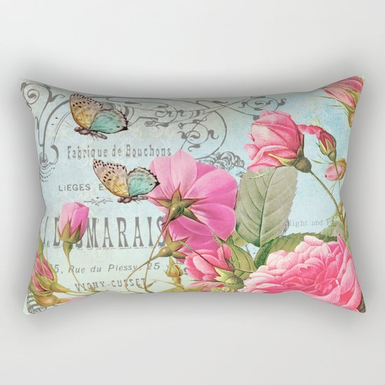 Vintage Flowers #3 Rectangular Pillow
