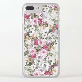Vintage rustic white wood blush pink floral Clear iPhone Case