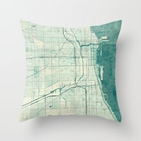 chicago map Throw Pillows featuring Chicago Map Blue Vintage by City Art Posters