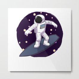 Astronaut Surfing Metal Print
