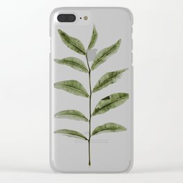 Olive Green Botanical (Color) Clear iPhone Case