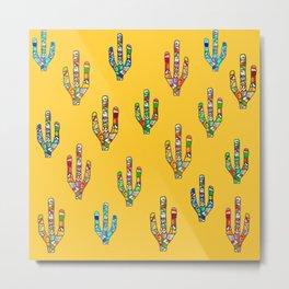 Mosaic Cacti on Yellow Metal Print