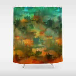 """""""Abstract forest in Autumn"""" Shower Curtain"""