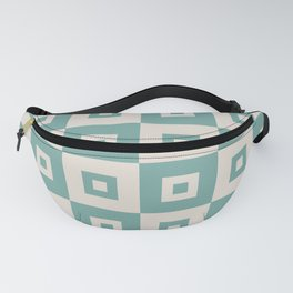 Retro Mid Century Modern Square Pattern Seafoam Green Fanny Pack