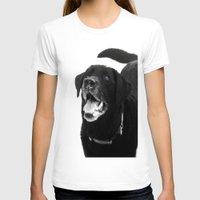 labrador T-shirts featuring Labrador Happy by Jennifer Warmuth Art And Design