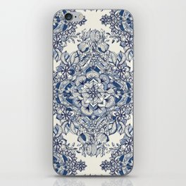 Floral Diamond Doodle in Dark Blue and Cream iPhone Skin