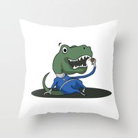 trex Throw Pillows featuring Fantastic Mr. TRex by Megan Yiu