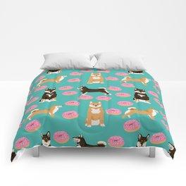 Shiba Inu donuts food cute dog art sweet treat dogs pet portrait pattern Comforters