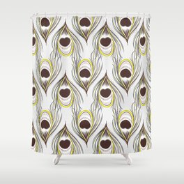Peacock green feather Shower Curtain