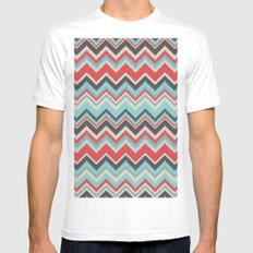 Aztec chevron pattern- grey MEDIUM White Mens Fitted Tee