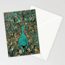 Aqua and Gold Peacock Stationery Cards