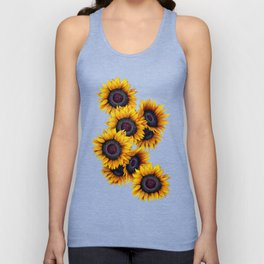 Sunflowers yellow navy blue elegant colorful pattern Unisex Tank Top