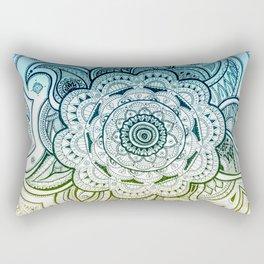 Mandala Blue Yellow Rectangular Pillow