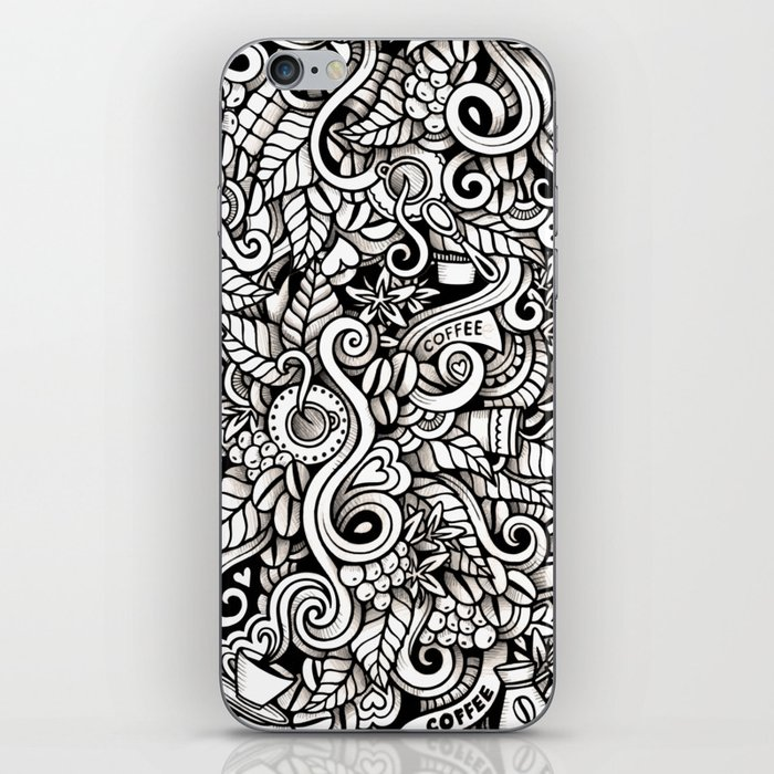 coffee doodle iPhone Skin