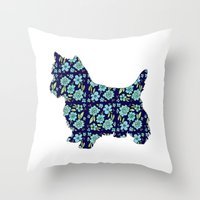 yorkie Throw Pillows featuring Blue Yorkie by blushandhoneypaper