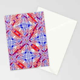 Tile #3 Blue & Red 4 Pointed Star on White Stationery Cards