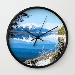 Panorama view of Lake Mcdonald Wall Clock